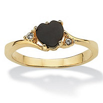 Heart-Shaped Genuine Onyx and Crystal Accent 14k Yellow Gold-Plated Ring