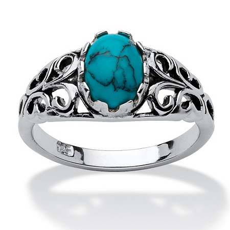 Oval-Shaped Simuluated Turquoise Sterling Silver Antique-Finish Southwest Style Cocktail Ring at PalmBeach Jewelry