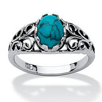 Oval-Shaped Simuluated Turquoise Sterling Silver Antique-Finish Southwest Style Cocktail Ring