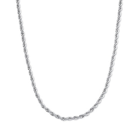 Rope Chain Necklace in Sterling Silver 18
