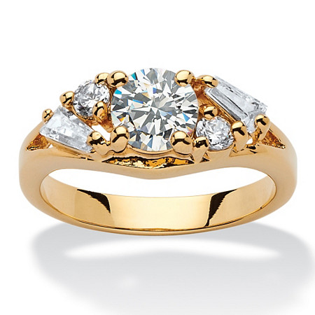 1.58 TCW Round and Baguette Cubic Zirconia 14k Yellow Gold-Plated Engagement Anniversary Ring at PalmBeach Jewelry