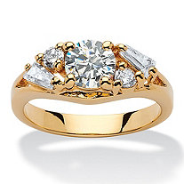 1.58 TCW Round and Baguette Cubic Zirconia 14k Yellow Gold-Plated Engagement Anniversary Ring