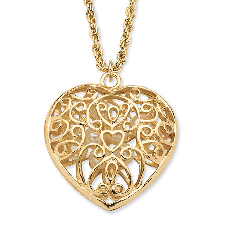 Simulated Pearl Filigree Heart Pendant Necklace in Yellow Gold Tone at PalmBeach Jewelry