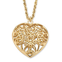 Simulated Pearl Filigree Heart Pendant Necklace in Yellow Gold Tone