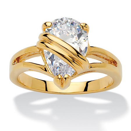2.98 TCW Pear Cut Cubic Zirconia 18k Gold-Plated Wrapped Solitaire Ring at PalmBeach Jewelry