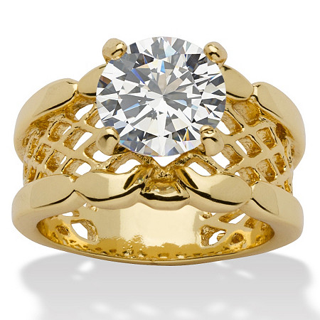2 TCW Round Cubic Zirconia 14k Yellow Gold-Plated Solitaire Filigree Bridal Engagement Ring at PalmBeach Jewelry