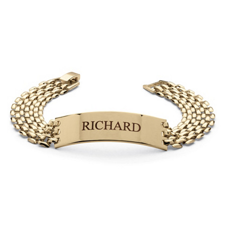 "Men's Personalized Panther-Link I.D. Bracelet in Yellow Gold Tone 8"" at PalmBeach Jewelry"