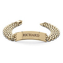 SETA JEWELRY Men's Personalized Panther-Link I.D. Bracelet in Yellow Gold Tone 8