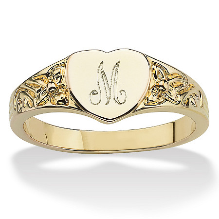 14k Yellow Gold-Plated Heart-Shaped Initial Ring at PalmBeach Jewelry