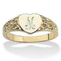Personalized Heart-Shaped Initial Ring 14k Yellow Gold-Plated
