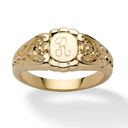 Personalized Signet Ring in 14k Gold-Plated at PalmBeach Jewelry