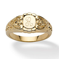 Personalized ID Scrolled Signet Ring 14k Gold-Plated