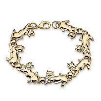 Playful Cat Link Bracelet in Yellow Gold Tone 8""