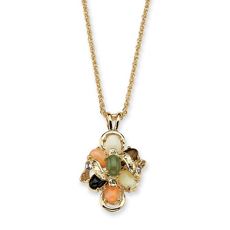1/4 TCW Genuine Multi-Gemstone & Crystal Accent Necklace in Gold Tone 18