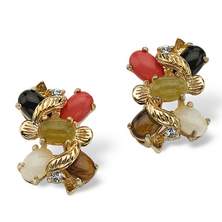 1/2 TCW Oval-Shaped Multi-Gemstone and Crystal Accent Earrings in Yellow Gold Tone at PalmBeach Jewelry