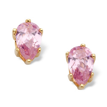 1.62 TCW Pear Cut Pink Cubic Zirconia Stud Earrings in Yellow Gold Tone at PalmBeach Jewelry