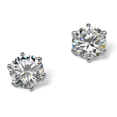 5.00 TCW Round Cubic Zirconia Sterling Silver Stud Earrings at PalmBeach Jewelry