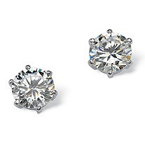 SETA JEWELRY 5.00 TCW Round Cubic Zirconia Sterling Silver Stud Earrings