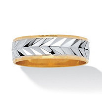 Men's Two-Tone Diamond-Cut Wedding Band 14k Gold-Plated