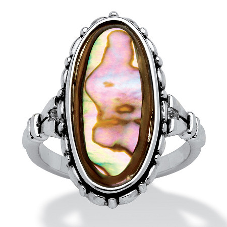 Genuine Oval-Shaped Abalone Ring in Antiqued Silvertone at PalmBeach Jewelry