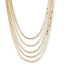 Multi-Strand Cobra-Link Waterfall Necklace in Yellow Gold Tone 30