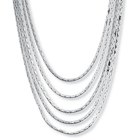 "Silvertone Cobra-Link Multi-Strand Waterfall Necklace 30"" at PalmBeach Jewelry"