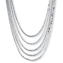 SETA JEWELRY Silvertone Cobra-Link Multi-Strand Waterfall Necklace 30