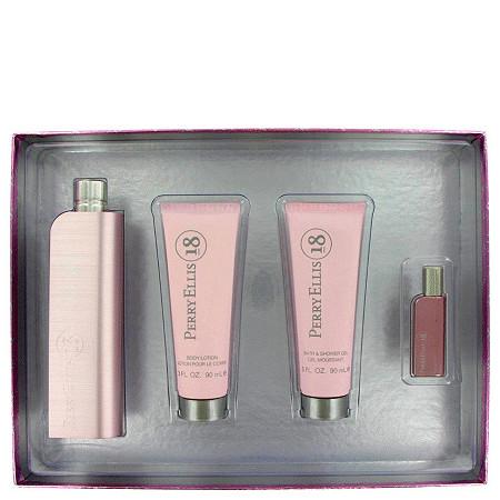 Perry Ellis 18 by Perry Ellis for Women Gift Set -- 3.4 oz Eau De Parfum Spray + 3 oz Shower Gel + 3 oz Body Lotion + .25 oz Mini EDP at PalmBeach Jewelry