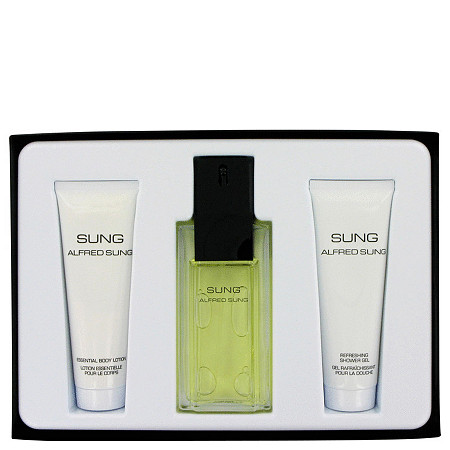 Alfred SUNG by Alfred Sung for Women Gift Set -- 3.4 oz Eau De Toilette Spray + 2.5 oz Body Lotion + 2.5 oz Shower Gel at PalmBeach Jewelry