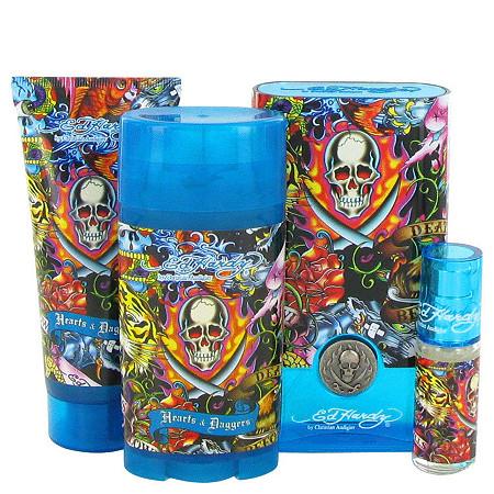 Ed Hardy Hearts & Daggers by Christian Audigier for Men Gift Set -- 3.4 oz Eau De Toilette Spray + 3 oz Shower Gel + 2.75 oz Deodorant Stick + .25 oz Mini EDT Spray at PalmBeach Jewelry