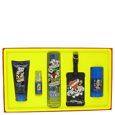 Love & Luck by Christian Audigier for Men Gift Set -- 3.4 oz Eau De Toilette Spray + 3 oz Hair & Body Wash + 2.75 oz Deodorant Stick + .25 oz Mini EDT Spray + Luggage Tag at PalmBeach Jewelry