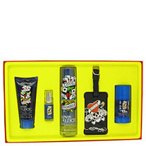 Love & Luck by Christian Audigier for Men Gift Set -- 3.4 oz Eau De Toilette Spray + 3 oz Hair & Body Wash + 2.75 oz Deodorant Stick + .25 oz Mini EDT Spray + Luggage Tag