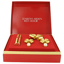 RED DOOR by Elizabeth Arden for Women Gold Travel Mini EDP Spray + Free Earrings and Free Brooch in Gift Box .25 oz