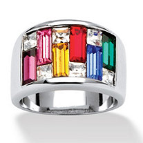 Princess and Baguette-Cut Multicolor Crystal Channel Ring in Silvertone