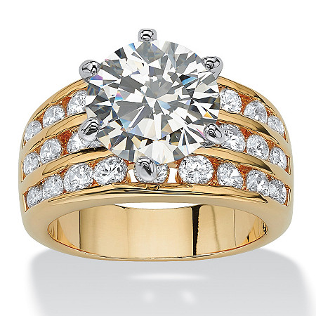3.88 TCW Round Cubic Zirconia Ring in Yellow Gold Tone at PalmBeach Jewelry