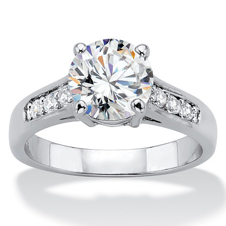 2.20 TCW Round Cubic Zirconia Silvertone Engagement Anniversary Ring at PalmBeach Jewelry