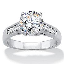 SETA JEWELRY 2.20 TCW Round Cubic Zirconia Silvertone Engagement Anniversary Ring