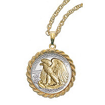 24k Gold-Layered Silver Walking Liberty Half Dollar Rope Coin Pendant and Chain