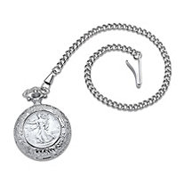 SETA JEWELRY Men's Genuine Walking Liberty Silver Half Dollar Coin Pocket Watch in Silvertone