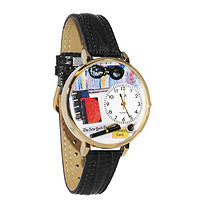 Personalized Book Lover Watch in gold or silver case