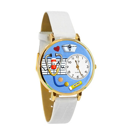 "Handcrafted Personalized Nurse Theme Watch with Adjustable Italian Leather Band in Gold Tone Stainless Steel Adjustable 7.5""-9.5"" at PalmBeach Jewelry"