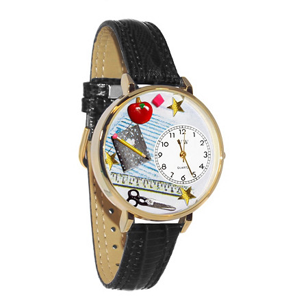 Hand-Crafted Personalized Teacher Themed Watch With Italian Leather Band in Yellow Gold Tone at PalmBeach Jewelry