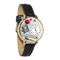 Hand-Crafted Personalized Teacher Themed Watch With Italian Leather Band in Yellow Gold Tone