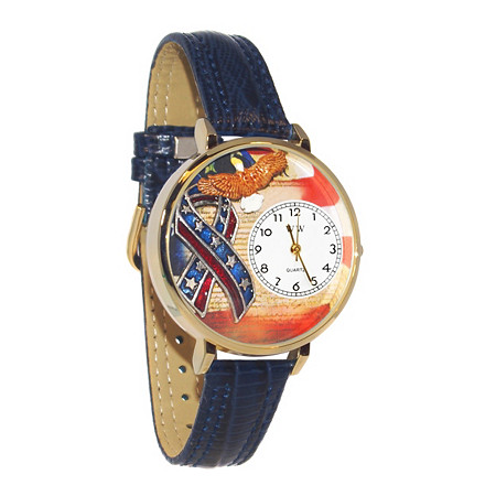 Personalized Patriotic Watch Italian Leather Band in Yellow Gold Tone at PalmBeach Jewelry