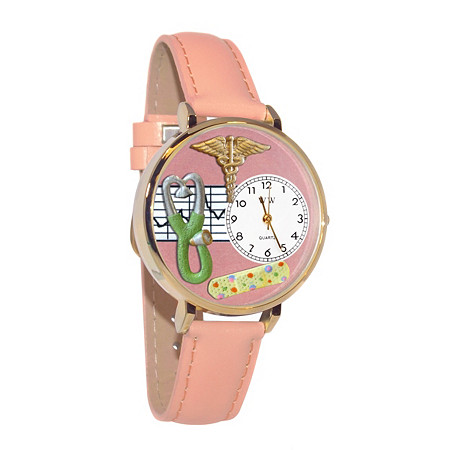 Hand-crafted Personalized Nurse-Theme Yellow Gold Tone Watch Italian Leather Adjustable Band at PalmBeach Jewelry