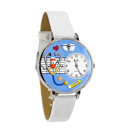 Personalized Nurse Blue Watch in Silver (Unisex) at PalmBeach Jewelry