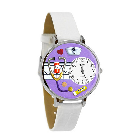 Personalized Nurse Purple Watch in Silver (Unisex) at PalmBeach Jewelry