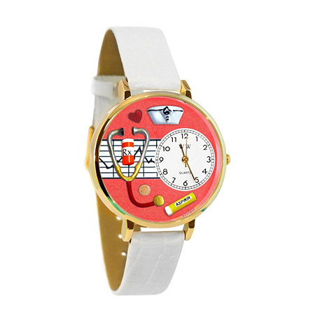 Personalized Nurse Red Watch in Silver (Unisex) at PalmBeach Jewelry